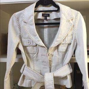 Bebe White Leather Jacket